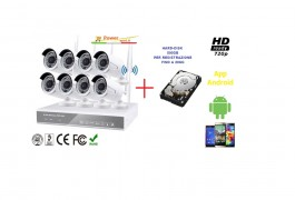 Kit videosorveglianza nvr 8 canali wireless 8 telecamere 3 array LEDs + hard disk