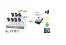 Kit videosorveglianza nvr 8 canali wireless 7 telecamere 3 array LEDs + hard disk